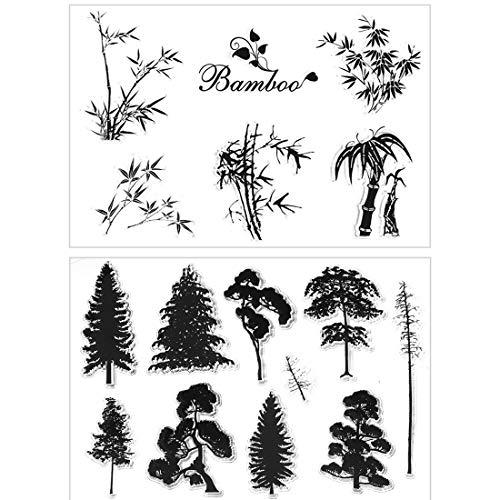DIY Pflanze Bambus Kiefer Baum klar Stempel für Karten Markieren Scrapbooking Dekoration 2 Stück
