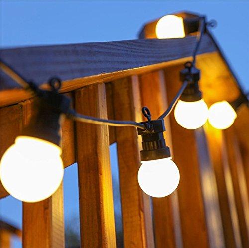 Ausziehbare Girlande Birnen Lichter,KINGCOO 10M 20LEDs G50 Frosted Ball Globe Glühbirnen Lichterkette für Weihnachten Party Innen Außen Dekorationen mit Stecker (Schwarze Kabel-Mattbirnen/WarmWeiß) (Hängende Led-globus)