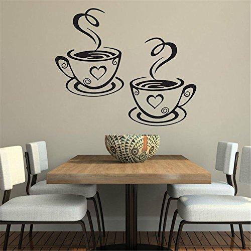 KaO0YaN Wandsticker für Kinderzimmer EIN Paar Kaffeetassen 31x 19 Wandaufkleber europäischen und amerikanischen Gerücht Wandaufkleber englische Poesie