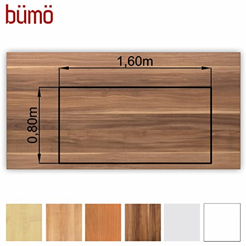 Bümö® stabile Tischplatte 2,5 cm stark - DIY Schreibtischplatte aus Holz | Bürotischplatte belastbar mit 120 kg | Spanholzplatte in vielen Formen & Dekoren| Platte für Büro, Tisch & mehr (Rechteck: 160 x 80 cm, Zwetschge) -