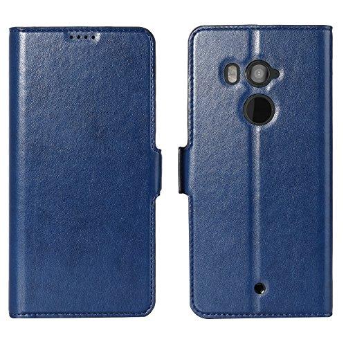 Eastcoo HTC U11 Plus PU Leder Tasche Flip Ledertasche Handyhülle kristallklarer TPU View Standfunktion Kartenfach Holder Magnetverschluß Doppelt geschichtet wallet Case Hülle für HTC U11 Plus (U11 Plus, Blue) (Htc 1 Telefon-abdeckung)