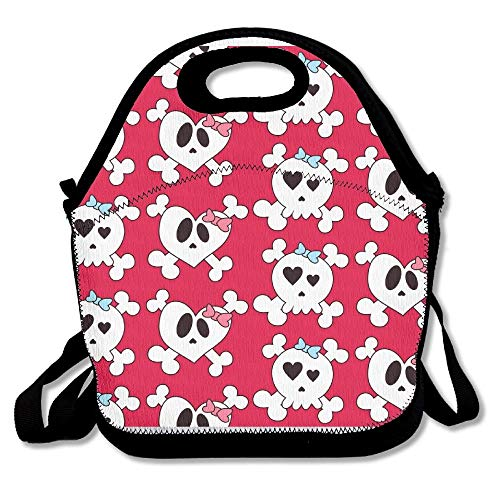 9f4be5aa325f9 Funny Sugar Skulls Lovers Red Neoprene Lunch Bag Insulated Lunch Box Tote  For Women Men Adult Kids Teens Boys Teenage Girls Toddlers (Black)