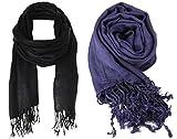 #1: Nikita Crepe Black & Navy Blue Colour Scarf For Women's