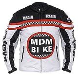Textil Motorradjacke (M, weiß/schwarz)