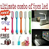 ZED BONE™ Combo Pack Of 5 Piece Of USB LED Lights Flexible, Portable, Bendable, For Your Laptop, Computer, Or For Any Usb Port And Get FREE O.T.G Connecter (And Also Get A Free Surprised Assured Gift With Every Purchase Of This Product From ZED BONE