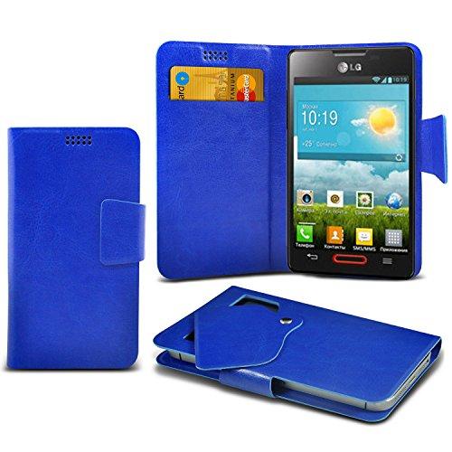 (Blue) LG Optimus L4 II E440 Schutzhülle Mega Dünn Faux Leder Saugnapf Tasche Case Cover hülle mit Kredit- /Debitkarte Steckplätze Aventus