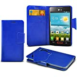 (Blue) LG Optimus L4 II E440 Caso fino estupendo Faux Leather succión Pad Monedero piel de la cubierta con el crédito / débito ranuras para tarjetasBy ONX3