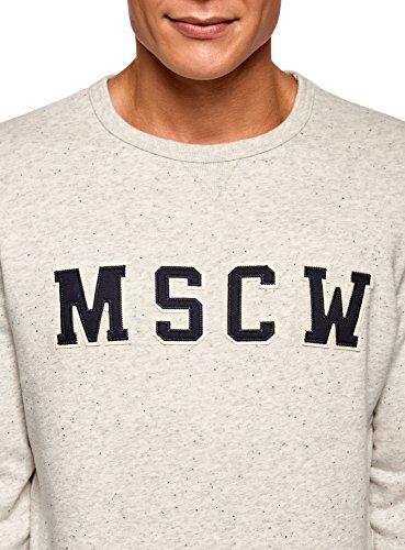 oodji Ultra Herren Baumwoll-Sweatshirt mit Buchstaben-Druck Grau (2020P)