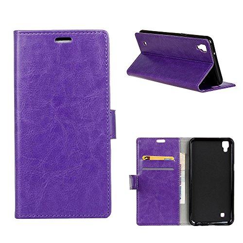 MOONCASE LG X Style Hülle, Ledertasche Brieftasche mit Standfunktion und Karte Halter Tasche Magnetisch Leder Schutzhülle für LG Tribute HD/X Style Lila