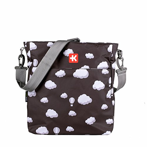 Kiwisac Happy Trip Bolso para Carro de Bebé Universal con Diseño Estampado de Nubes en Blanco y Negro Bolso Organizador con Cambiador, Bandolera Ajustable y Cintas de Sujeción 36x11x32 cm