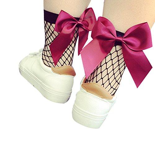 Fischnetz Socken,Tonsee Schmetterling Knoten Kreative Ruffle Fishnet Ankle Mesh Spitze Fische Net Kurze Socken,Für die Modewelt (Medium Net, Hot Pink) (Pink Fishnet)