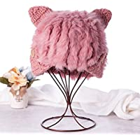 Qiaoba- Sra. Otoño y el Invierno con Estilo Hermoso suéter cálido tricotar Sombrero, Rosa