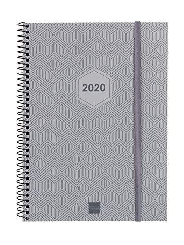 Finocam - Agenda 2020 semana vista vertical Espiral Futura Gris Claro español