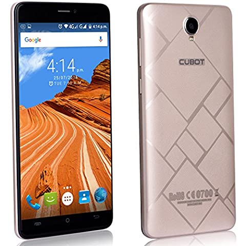 Cubot Max Smartphone ohne Vertrag 6 Zoll HD Touch-Display mit 4100 mAh Akku, 3GB Ram+32GB interner Speicher, Octa-Core Prozessor, Android 6.0, Dual-SIM, 4G LTE FDD, 5MP Frontkamera / 13MP Hauptkamera, IPS 2.5D gebogener Bildschirm Gold [ Cubot Offiziell