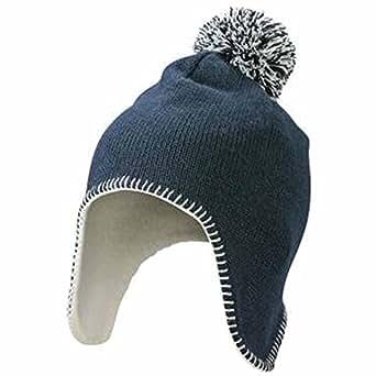 MYRTLE BEACH - bonnet tricot à pompon avec cache oreille - MB7938 - bleu marine et blanc cassé