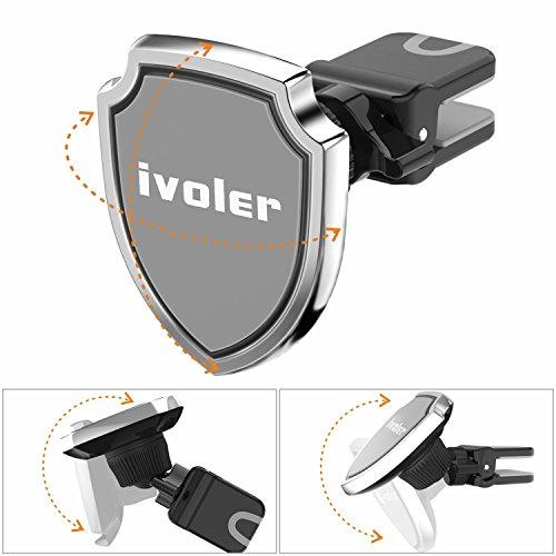 iVoler Supporto Magnetico Auto (Scudo), Porta Cellulare Auto con la clip design per alla bocchetta dellaria con Rilascio in un Click, Universale Car Mount Air Vent per GPS, iPhone 7/7 Plus/6S/5S/5C/S Grigio