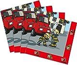 20 Servietten * FEUERWEHR * für Mottoparty und Kindergeburtstag von TIB // Kinder Geburtstag Party Fete Set Jungen Napkins Papierservietten Fire Fighter