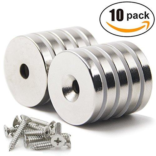 10 Stück Neodym Magnet Ringmagnete starker Rare Earth Magnet Runde Basis Neodym Senkloch Magnet mit Befestigungsschrauben 30mm x 5mm