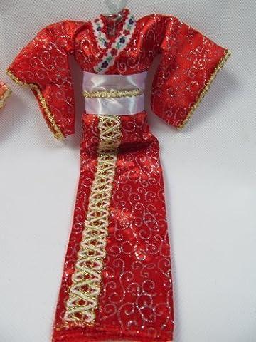 Fat-Catz - Robe kimono japonais rouge geisha unique poupée Barbie Sindy