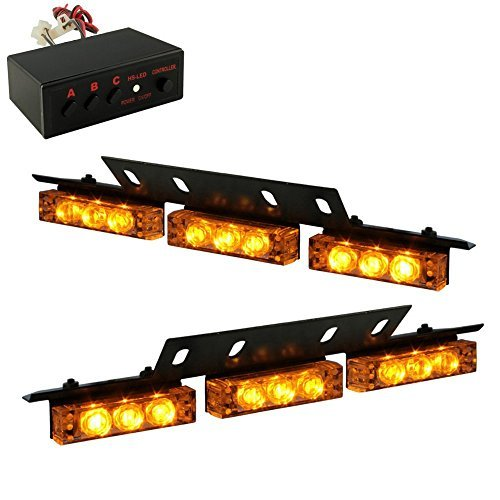 18 x Ultra Bright Amber LED Emergency Warning Use Flashing Strobe Lights Bar For Windshield Dash Grille by PADHOME