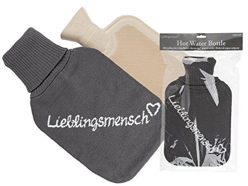Wärmflasche Lieblingsmensch, mit grauem 100% Polyesterbezug, ca. 18 x 34 cm, für ca. 2 Liter Füllmenge