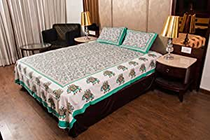 kismat collection Double Bedsheet 140 TC 100% Pure Cotton With 2 Pillow Cover (Jaipuri & Rajasthani Traditional King Size Bed Sheet)