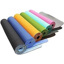 Esterilla de yoga »Shitala« / Esterilla de TPE respetuosa con el medio ambiente, hipoalergénica, suave y antideslizante / Perfecta tanto para profesores de yoga como para yoguis / Medidas: 183 x 61 x 0,5 cm / negro