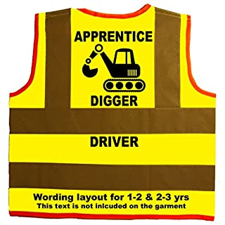 Apprentice Digger Driver Baby/Children/Kids Hi Vis Safety Jacket/Vest Size 1-2 Years Yellow Optional Personalised On Front