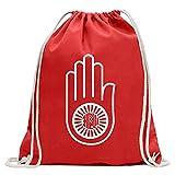 Kiwistar Jain principale Ahimsa Divertente zaino sportivo per il fitness. Gymbag per lo shopping in cotone con coulisse