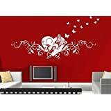 adesivi murali parete tatuaggio Adesivo soggiorno notte bambini Camera Cucina 30 colori per la selezione di amore fata farfalla cuore wsh01(070 nero, size3:ca.200x58cm)