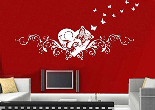 Wandtattoo wandaufkleber Aufkleber Wandsticker wall sticker Wohnzimmer Schlafzimmer Kinderzimmer KuCHE 30 Farben zur Wahl Liebe Fee Herz Schmetterling wsh01(Visualisierung)