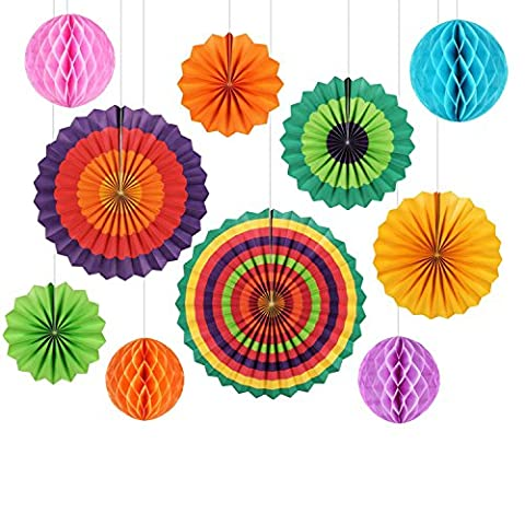 Party Decoration GoFriend 10Pcs Colorful Fiesta Paper Fans Tissue Paper Honeycomb Balls Hanging Decoration for Birthday Wedding Carnival Baby Shower Home Party Supplies