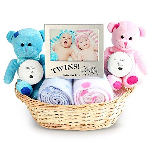 Double Deluxe Twin New Baby Geschenk Korb, Neugeborene Baby-Geschenkkorb, Baby Dusche Ideas -