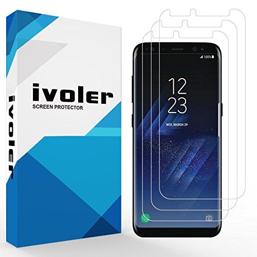 [3 Unidades] Samsung Galaxy S8 Protector de Pantalla, iVoler® 3D Cobertura Completa [Líquida Instalar] [Arañazos Resistente] [Anti-Burbuja] HD Claro Transparente TPU Suave Láminas Protectora para Samsung Galaxy S8