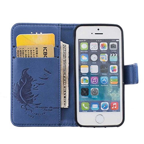 Custodia Iphone 5/5S, Igrelem® – Custodia flip in pelle PU per Apple iPhone5 iPhone5S [Card Slot, Smart Standing], 9 colori piuma pattern design libro stile tipo Fashion Cover protettiva Ultra sottile Blue