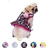 Blueberry Pet Fein Gefertigtes Elegantes Blumendruck Hundegeschirr Kleid in Schickem Schwarz, Brustumfang 35,5cm-41cm, Hals 28cm-32cm, XS
