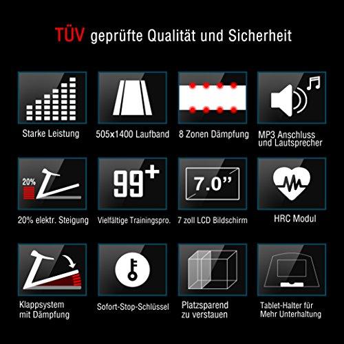 Pfingstangebot bis 05.06! Fitifito 8500 Profi Laufband 7PS 22km/h mit LED Bildschirm, Dämpfungssystem, 5 Trainingsmodulen inkl. HRC – Klappbar, Schwarz - 4