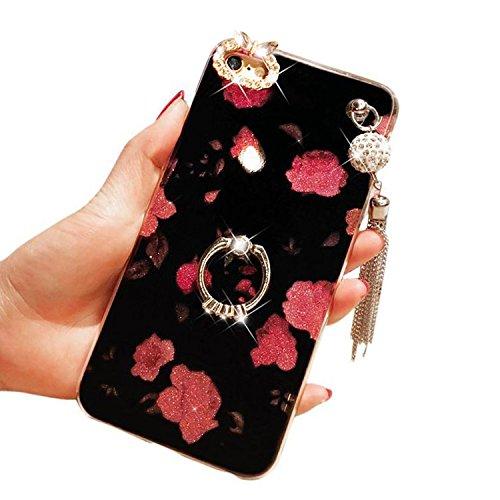 Handyhülle für iPhone 5, für iPhone SE Case Cover, Vandot 360 Grad Rotation Ring Luxury Crystal Box elegant Pattern Pink Back Cover Ultra Thin Soft Gel TPU Silikon Bumper Fall mit Unterstützung von Ri Flower-2
