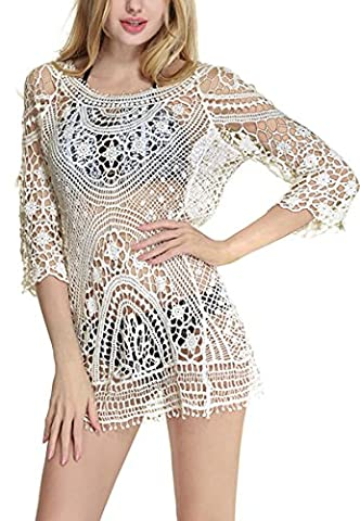 CHIC DIARY Women's Beachwear Floral Lace Crochet Swimsuit Cover up