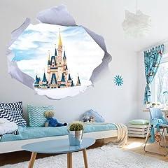 Idea Regalo - Adesivi Murali - Adesivi da Parete Removibili, Stickers Murali, Decorazione Murale Wall Stickers - cartoni buco foro 3d castello disney cameretta