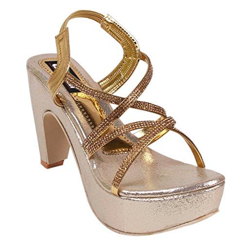 Aroom Women's Golden Heel Sandal