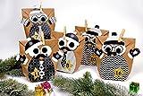Papierdrachen DIY Adventskalender Set zum Befüllen - Weihnachtseulen Schwarz-weiß mit zusätzlicher Dekoration - Eulen Weihnachten - zum Basteln - zum selber Füllen - für Kinder - 3
