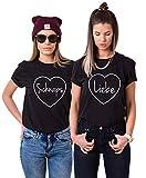 Best Friends t-Shirts für Zwei Damen Freundin Mädchen Shirt 2 Stücke BFF Freundschaft Geburtstagsgeschenk Sommer Kurzarm Baumwolle Tops(Schwarz,Sch-M+Liebe-S)
