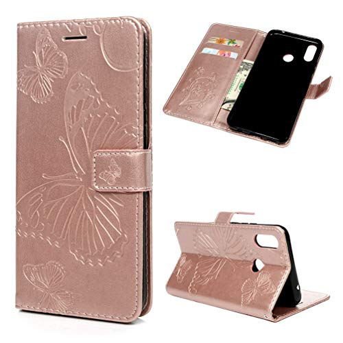 Coque Huawei P Smart + Plus, Housse en Cuir LaVibe PU Leather Etui à Rabat Papillon Fleurs Clapet Support Fermeture Magnétique Porte Video Stand, Flip Wallet Protective Case Cover–Or Rose