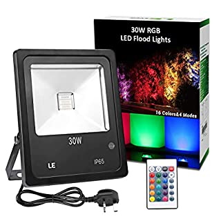LE 30W RGB Flood Light, Colour Changing LED Garden Light with Remote Control, Dimmable Outdoor Lighting, Waterproof 16 Colours and 4 Modes Floodlight with UK Plug