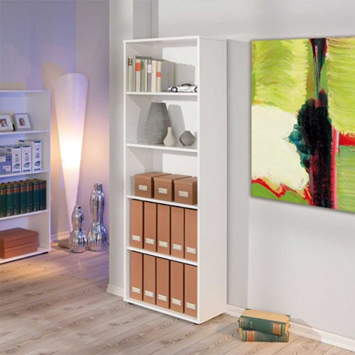 Pharao24 Stand-Regal Borneo in Weiß Lack - Lack-holz-regale