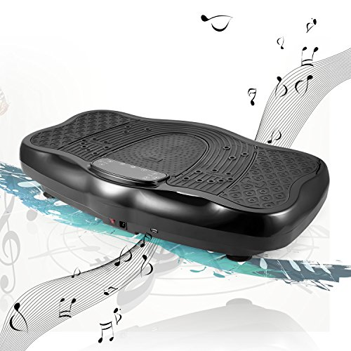 Ancheer 3D Unisex-Adult Vibrationsplatte Ganzkörper Trainingsgerät rutschfest, Vibrationsgerät mit Armband Fernbedienung LCD Display Trainingsbänder (Schwarz)