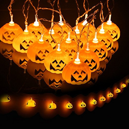 Ghirlanda decorativa luminosa con 16 lampadine a LED a forma di zucca alimentata a batteria Decor