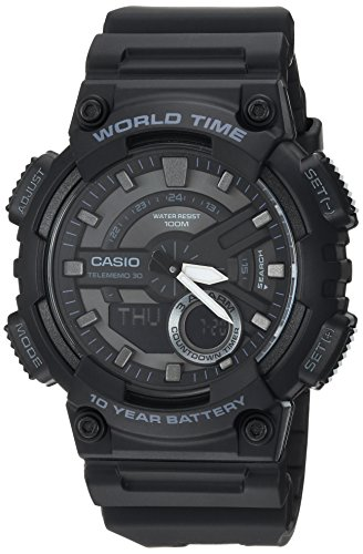 Casio Men's 'CLASSIC' Quartz Stainless Steel and Resin Casual Watch, Color:Black Model: AEQ-110W-1BVCF...