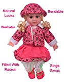 #7: TanMan Natural Looking Soft Baby Girl Doll Toy Singing Songs and Poems Wearing Shoes and Cap / Battery Operated / Height 55 cm / Multi Color